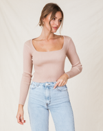 Hariette Crop Top (Beige) - Blush Cropped Knit Top - Women's Top - Charcoal Clothing