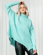 Sunday Morning Knit (Mint) - Mint Green Knit Jumper - Women's Top - Charcoal Clothing