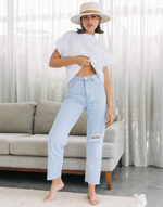 Kenny Jeans - Light Blue Ripped High Waisted Denim Jeans - Women's Pants - Charcoal Clothing