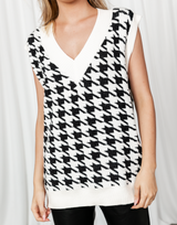 Perfect Storm Vest (White) - White and Black Patterned Vest - Women's Top - Charcoal Clothing