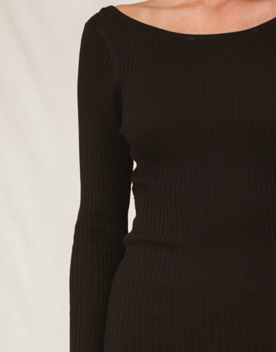 Drey Mini Dress (Black) - Ribbed Long Sleeve Mini Dress - Women's Dress - Charcoal Clothing