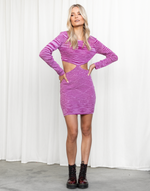 Gabriela Mini Dress (Purple) - Purple Multi-Toned Knit Long Sleeve Mini Dress - Women's Dress - Charcoal Clothing