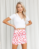 First Date Mini Skirt - Pink & Red Floral Mini Skirt - Women's Skirt - Charcoal Clothing