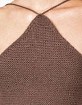 Chantal Top (Brown) - Halter Neck Open Back Knit Top - Women's Top - Charcoal Clothing