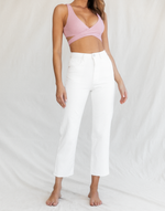 Kaya Jeans (White) - White High Waisted Denim Jeans - Women's Pants - Charcoal Clothing