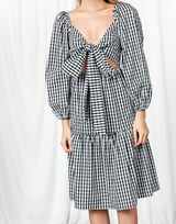 Rubi Midi Dress - Black and White Gingham Tie-Up Front Dress - Women's Dress - Charcoal Clothing