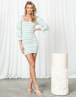 If You Need Mini Dress - Sage and White Gingham Rouched Dress - Women's Dress - Charcoal Clothing