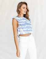 Keisha Top - Blue and White Tie-Dye Look Cropped Tank Top - Women's Top - Charcoal Clothing