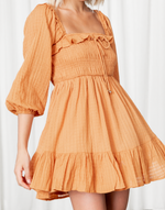 Cove Mini Dress (Orange) - Orange Frill Long Sleeve Mini Dress - Women's Dress - Charcoal Clothing