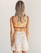 Wake Up Mini Skirt - Orange and Green Multicoloured Floral Mini Skirt - Women's Skirt - Charcoal Clothing