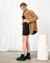 Along For The Ride Jacket - Brown Collared Teddy Jacket - Women's Top - Charcoal Clothing