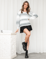 Rewind Knit Jumper - Grey & White V Neck Multi-Toned Knit Jumper - Women's Top - Charcoal Clothing