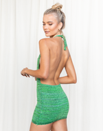 Naia Mini Dress - Green Toned Halter Mini Dress - Women's Dress - Charcoal Clothing
