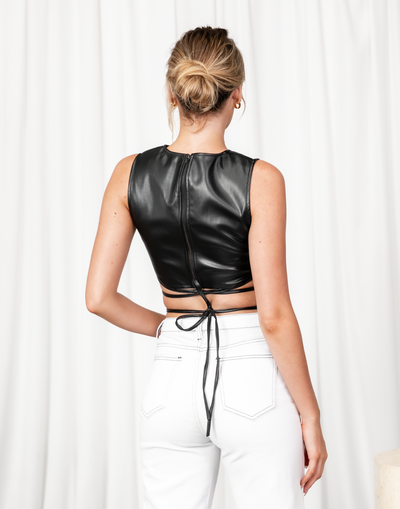 Headline Act Crop Top - Black Faux Leather Crop Top - Women's Top - Charcoal Clothing