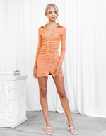 Jordie Mini Dress (Orange) - Collared Long Sleeve Mini Dress - Women's Dress - Charcoal Clothing