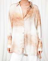 Not Your Average Shirt (Nude) - Snake Print Long Sleeve Collared Shirt - Women's Top - Charcoal Clothing