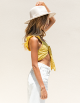 Picture Perfect Crop Top (Yellow) - Yellow and White Polka Dot Crop Top - Women's Top - Charcoal Clothing