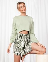 Joelle Top - Sage Green Long Sleeve Knit Crop Top - Women's Top - Charcoal Clothing
