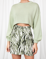 Baylee Mini Skirt - Green & White Abstract Print Mini Skirt - Women's Skirt - Charcoal Clothing