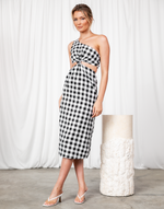 Turning Heads Midi Dress - Black & White Gingham One-Shoulder Midi Dress - Women's Dress - Charcoal Clothing