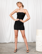 One and Only Mini Dress - Black Strapless Rouched Mini Dress - Women's Dress - Charcoal Clothing
