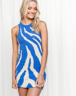 Jaz Mini Dress - Blue & Cream Animal Print Mini Dress - Women's Dress - Charcoal Clothing