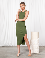 In My Element Midi Dress - Green Ribbed High Neck Midi Dress - Women's Dress - Charcoal Clothing
