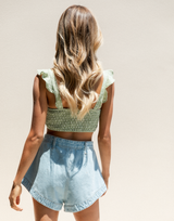 Picture Perfect Crop Top (Sage) - Sage and White Polka Dot Crop Top - Women's Top - Charcoal Clothing