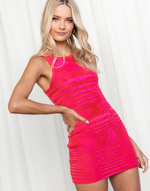 Chase Mini Dress (Pink) - Pink Multi-Toned Knit Mini Dress - Women's Dress - Charcoal Clothing