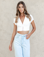 Wilderness Crop Top - White Short Sleeve Collared Crop Top - Women's Top - Charcoal Clothing