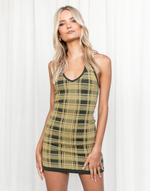 Forever Mine Mini Dress (Khaki) - Khaki and Yellow Tartan Mini Dress - Women's Dress - Charcoal Clothing