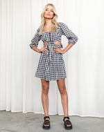 June Mini Dress - Black & White Gingham Cut Out Mini Dress - Women's Dress - Charcoal Clothing