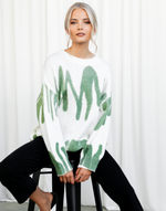Ashtyn Knit - White & Green Round Neckline Knit - Women's Top - Charcoal Clothing