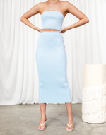 All Eyes On Me Set - Light Blue Ribbed Strapless Top & Midi Skirt Set - Women's Set - Charcoal Clothing