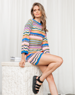 Dreamland Mini Dress - Multicoloured Knit Mini Dress - Women's Dress - Charcoal Clothing