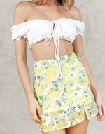 Opel Mini Skirt - Green, Yellow and White Floral High Waisted Mini Skirt - Women's Skirt - Charcoal Clothing