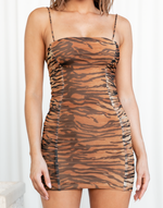 Make Your Move Mini Dress - Animal Print Ruched Mesh Mini Dress - Women's Dress - Charcoal Clothing