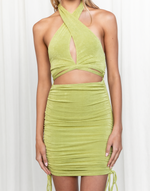 No Limits Mini Dress - Green Rouched Halterneck Mini Dress - Women's Dress - Charcoal Clothing
