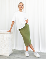 Jazzie Midi Skirt (Green) - High Waisted Midi Skirt - Women's Skirt - Charcoal Clothing