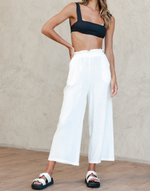 Toscana Pants - White High Waisted Pants - Women's Pants - Charcoal Clothing