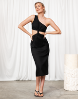 Turning Heads Midi Dress - Black One-Shoulder Midi Dress - Women's Dress - Charcoal Clothing
