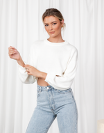 Joelle Top - Cream Long Sleeve Knit Crop Top - Women's Top - Charcoal Clothing