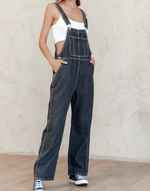Vision of You Overalls - Black Denim Overalls with White Stitching - Women's Jumpsuit - Charcoal Clothing