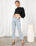 Joelle Top - Black Long Sleeve Knit Crop Top - Women's Top - Charcoal Clothing