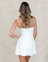 Bronte Mini Dress (Blue) - Blue, White and Green Floral Mini Dress - Women's Dress - Charcoal Clothing