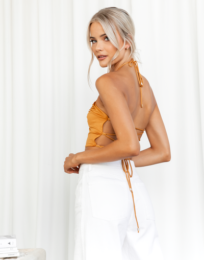 Trinket Crop Top - Orange Halter Tie Up Crop by Zya the Label - Women's Top - Charcoal Clothing