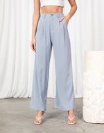 Off Duty Pants (Blue) - Pleated High Waisted Pants - Women's Pants - Charcoal Clothing