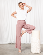 Off Duty Pants (Mauve) - Pleated High Waisted Pants - Women's Pants - Charcoal Clothing