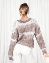 Hanna Jumper - Brown & White Round Neckline Jumper - Women's Top - Charcoal Clothing
