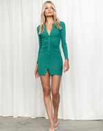 Jordie Mini Dress (Emerald) - Collared Long Sleeve Mini Dress - Women's Dress - Charcoal Clothing